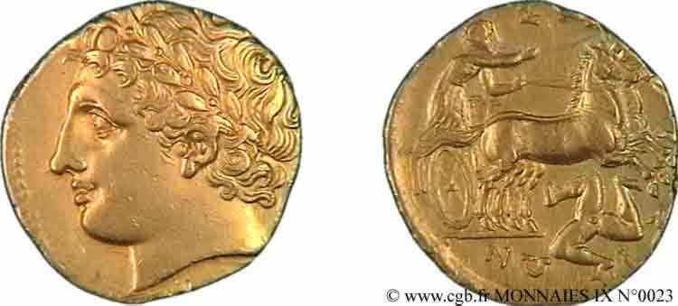 N° v09_0023 Drachme d'or, dodécadrachme d'argent ou soixante litrai - c. 317-310 AC.
