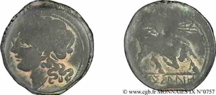 N° v09_0757 Bronze lourd au taureau, (hémilitron) - c. 215-211 AC.