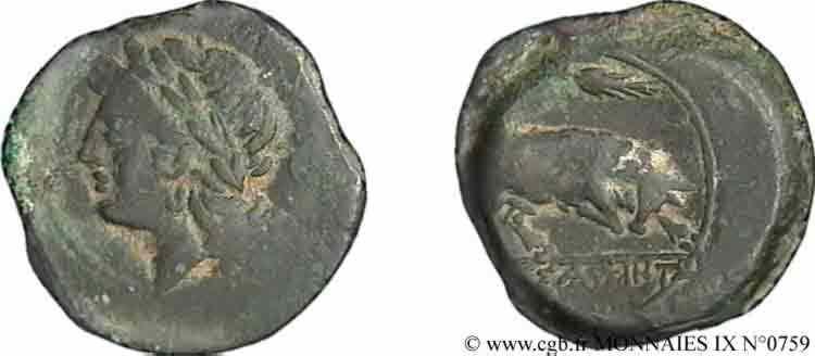 N° v09_0759 Bronze lourd au taureau, (hémilitron) - c. 215-211 AC.