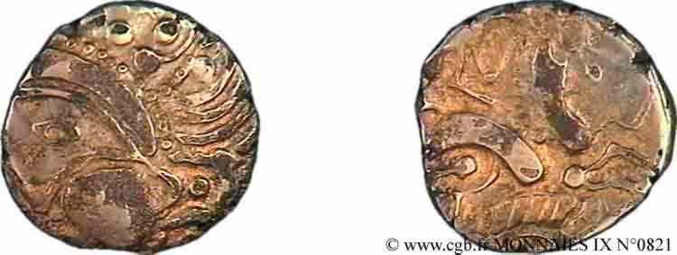 N° v09_0821 Hémistatère au sanglier (fourré, bronze doré) - c. 60-50 AC.