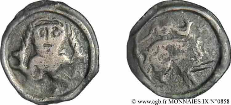 N° v09_0858 Potin au personnage de face - c. 60-50 AC.