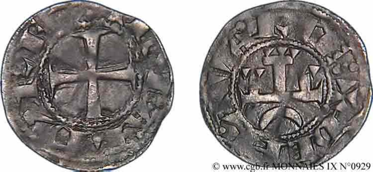 N° v09_0929 Denier au peigne champenois (provinois) - c. 1260