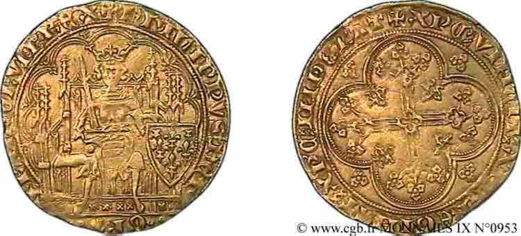 N° v09_0953 Écu d'or à la chaise - 5/01/1348
