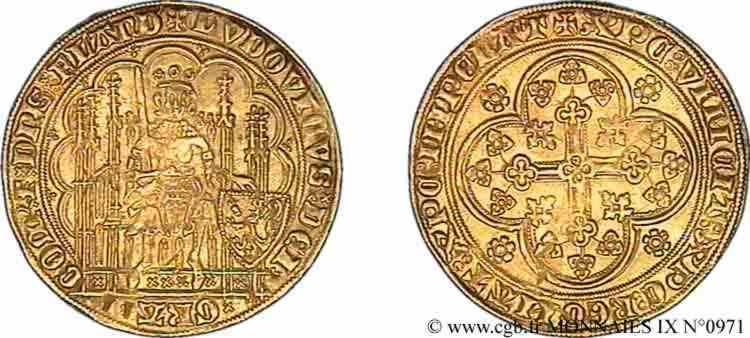 N° v09_0971 Chaise d'or au lion - c. 1373-1383