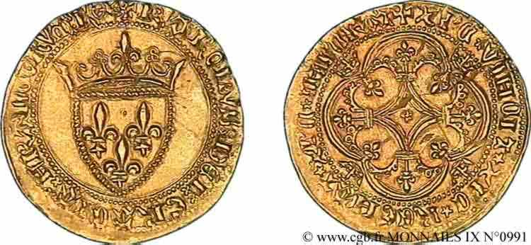 N° v09_0991 Écu d'or à la couronne - 11/03/1385