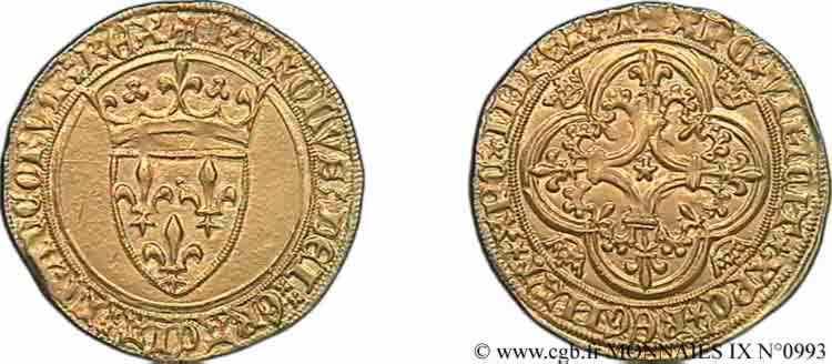N° v09_0993 Écu d'or à la couronne - 11/09/1389