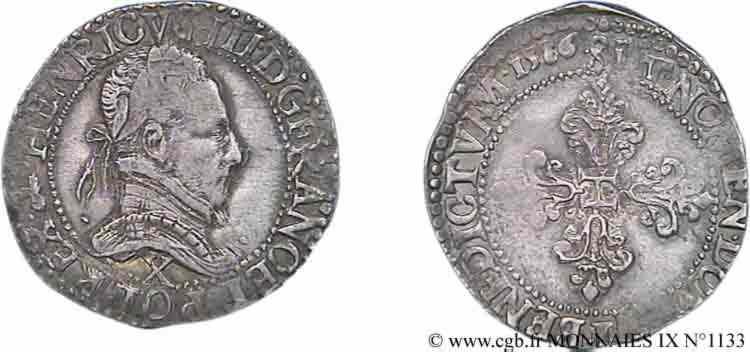 N° v09_1133 Demi-franc au col plat - 1586