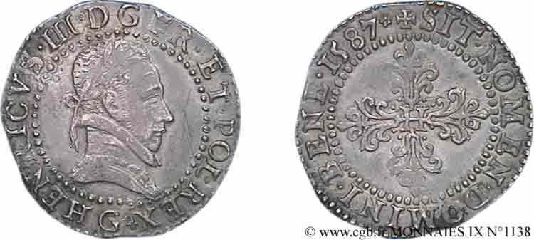 N° v09_1138 Demi-franc au col plat - 1587