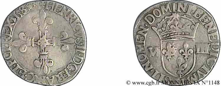 N° v09_1148 Huitième d'écu, croix de face - 158[7 ?]
