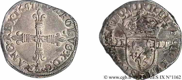 N° v09_1162 Quart d'écu, croix de face - 1597