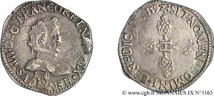 N° v09_1163 Demi-franc, 1er type de Bordeaux - 1592