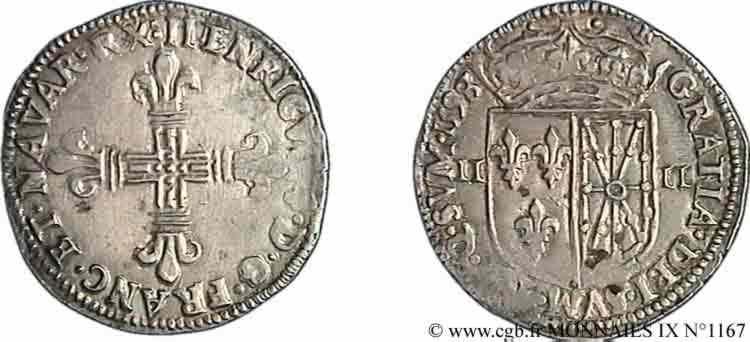 N° v09_1167 Quart d'écu de Navarre - 1598