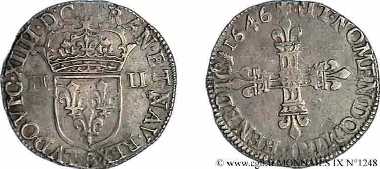 N° v09_1248 Quart d'écu, 1er type - 1646
