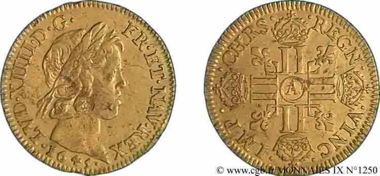 N° v09_1250 Louis d'or à la mèche courte - 1645