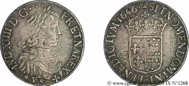 N° v09_1268 Écu de Navarre à la mèche longue - 1656