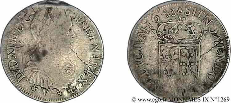 N° v09_1269 Demi-écu de Navarre à la mèche longue - 1653