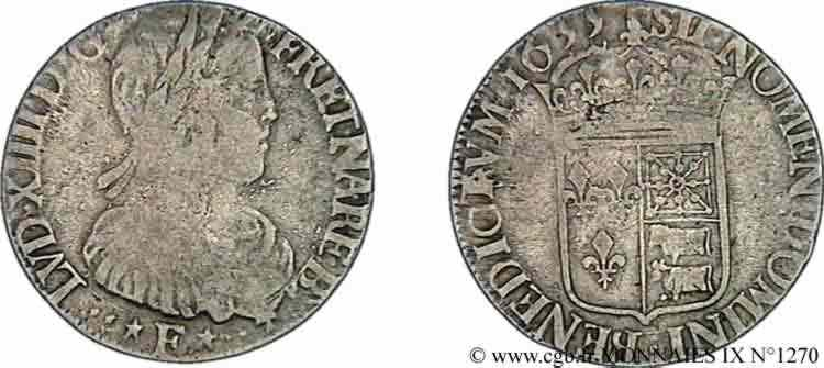 N° v09_1270 Demi-écu à la mèche longue de Béarn - 1655