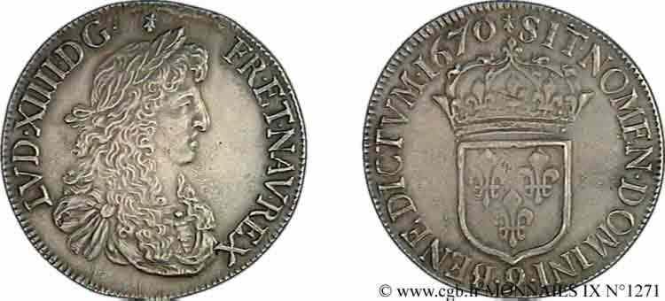 N° v09_1271 Écu au buste juvénile, 2e type - 1670