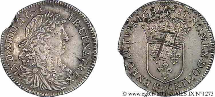 N° v09_1273 Quart d'écu au buste juvénile - 1680