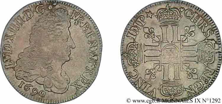 N° v09_1292 Demi-écu aux huit L, petit buste transitoire aux mèches groupées - 1690
