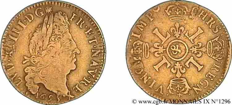 N° v09_1296 Louis d'or aux quatre L, fausse réformation - 1695