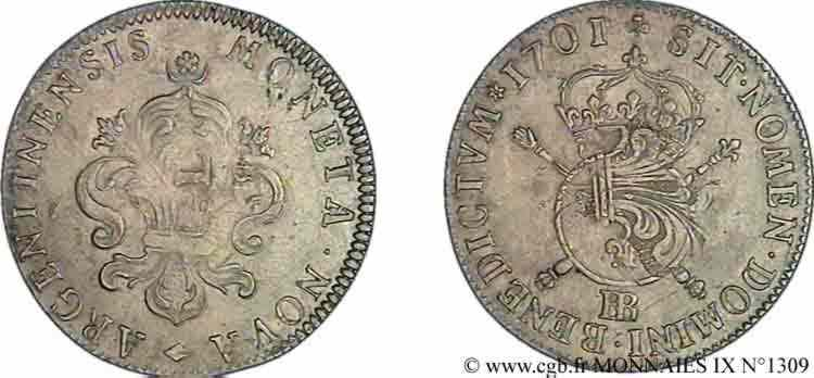 N° v09_1309 Pièce de trente-quatre sols et demi aux insignes - 1701