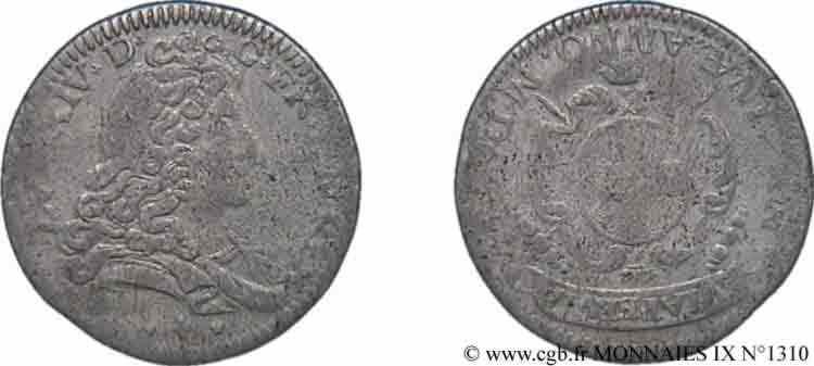 N° v09_1310 Pièce de trois sols, double georgin ou demi-livre de Modène - 1704