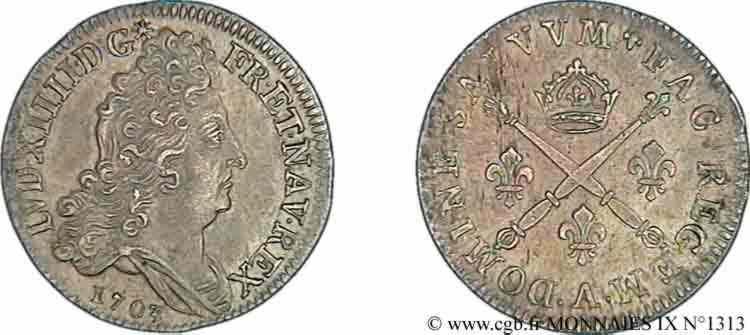 N° v09_1313 Dix sols aux insignes - 1703