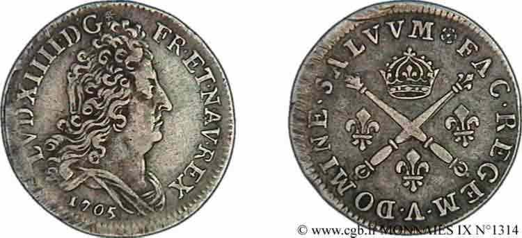 N° v09_1314 Dix sols aux insignes - 1705