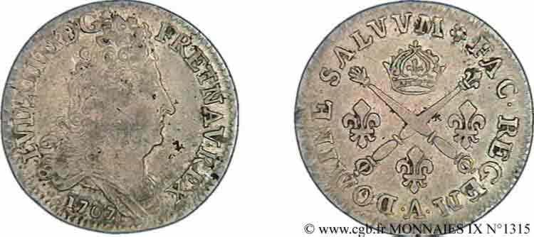 N° v09_1315 Dix sols aux insignes - 1707