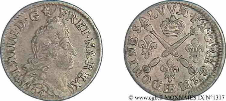 N° v09_1317 Cinq sols aux insignes de Strasbourg - 1704