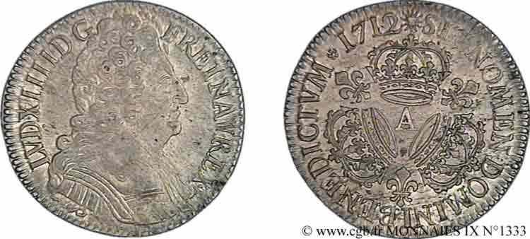 N° v09_1333 Demi-écu aux trois couronnes - 1712