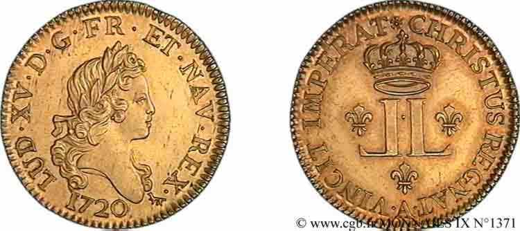 N° v09_1371 Louis d'or aux deux L - 1720