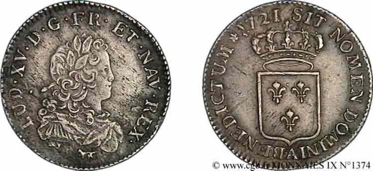 N° v09_1374 Tiers d'écu de France - 1721
