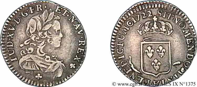 N° v09_1375 Douzième d'écu de France - 1722
