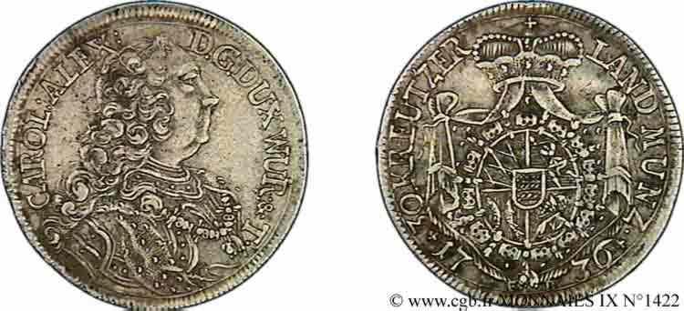 N° v09_1422 30 kreutzers, demi-gulden ou tiers de thaler - 1736