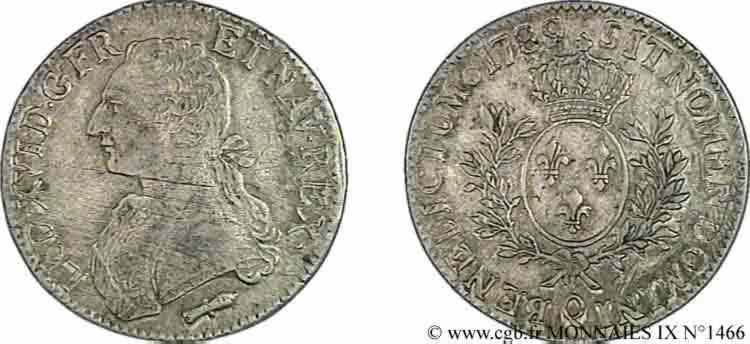 """N° v09_1466 Écu dit """"aux branches d'olivier"""" - 1789"""