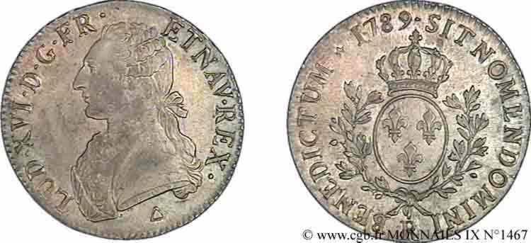 """N° v09_1467 Écu dit """"aux branches d'olivier"""" - 1789"""