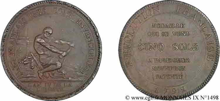 N° v09_1498 Monneron de 5 sols à l'Hercule - 1792