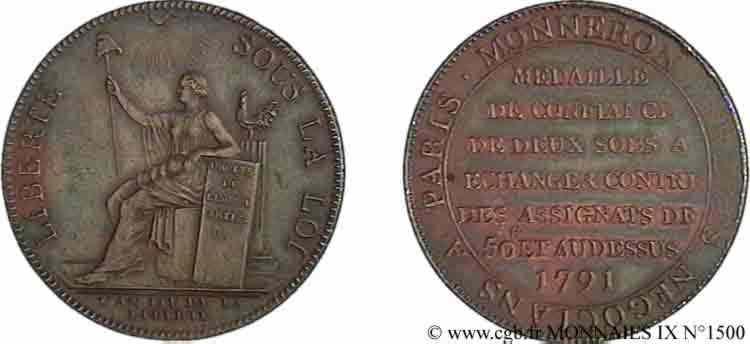 N° v09_1500 Monneron de 2 sols à la Liberté - 1792