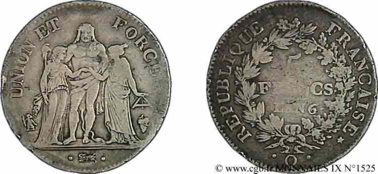 N° v09_1525 5 francs Union et Force avec glands - An 6