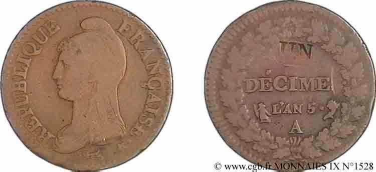 N° v09_1528 Un décime Dupré modification du 2 décimes - An 5