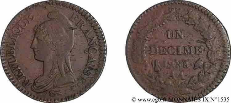 N° v09_1535 Un décime Dupré grand module - An 8