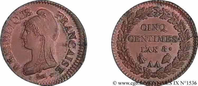 N° v09_1536 Cinq centimes Dupré grand module - An 8