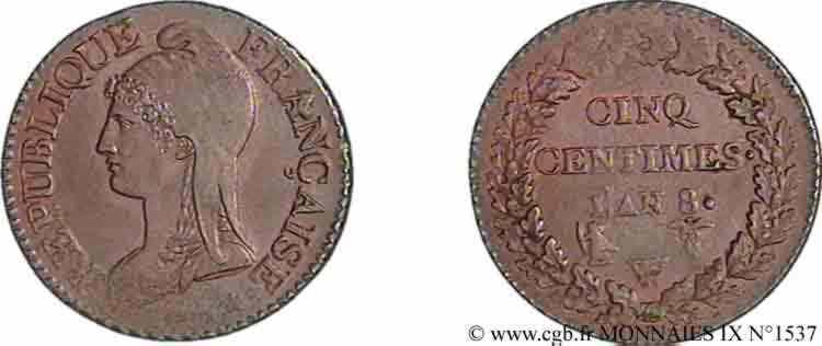 N° v09_1537 Cinq centimes Dupré grand module - An 8