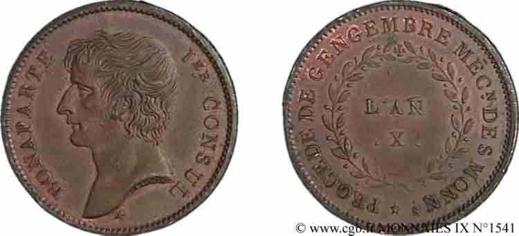 N° v09_1541 Essai au module de 2 francs Bonaparte par Jaley d'après le procédé de Gengembre - An X