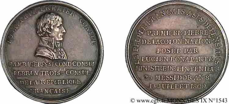 N° v09_1543 Médaille AR 42 de Duvivier, érection de la colonne Nationale, place Vendôme - 14 juillet 1800