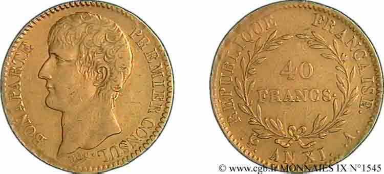 N° v09_1545 40 francs or Bonaparte premier Consul - An XI