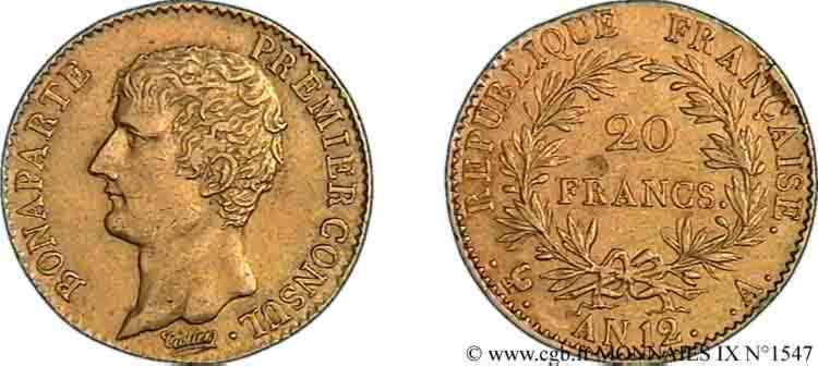 N° v09_1547 20 Francs or Bonaparte premier Consul - An 12