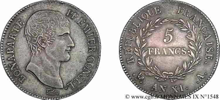 N° v09_1548 5 francs Bonaparte Premier Consul - An XI